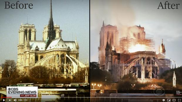 巴黎聖母院大火,850年歷史付之一炬…前後對比圖令人淚流,哭憶:「鐘樓怪人主題曲響起…」