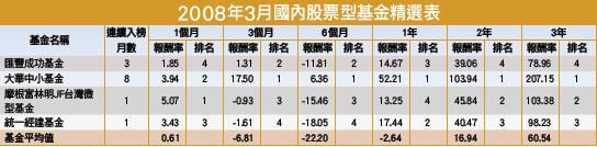 2008年3月國內股票型基金精選表